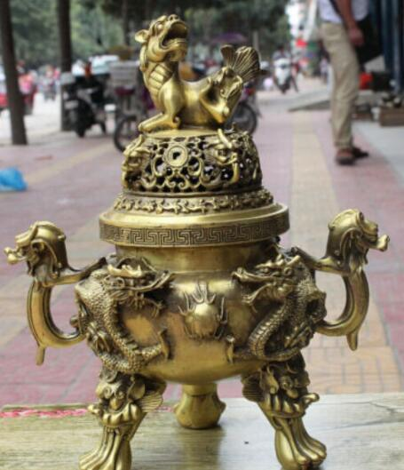 "2"" Chinese Buddhism Pure Copper Bronze Dragon Lion Statue Incense Burner Censer"
