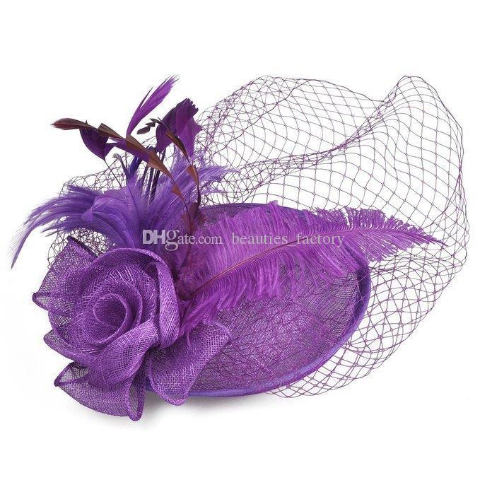 Marfil nupcial velo Birdcage plumas flor peine Blush Tulle novia novia sombreros cara velos Hots sombrero vestido