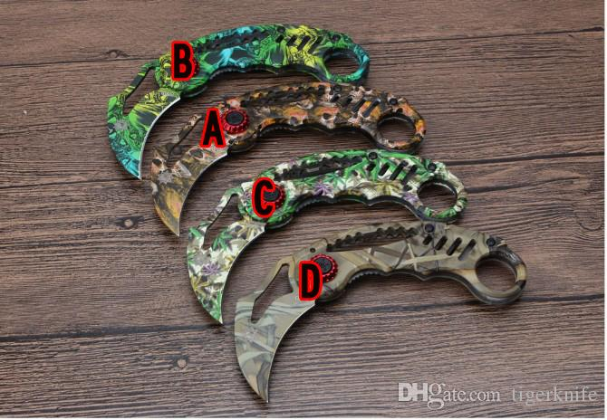 The latest cold steel Karambit coated blade steel tiger claw tactical folding knife camping hunting survival bag knife aluminum chip + steel