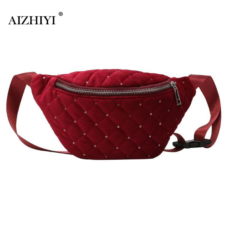 Women Velvet Waist Bag Fashion Girls Chest Bag Vinter Female Money Phone  Plaid Fanny Belt Packs Crossbody Bags Bolsa Feminina Backpacking Backpacks  Black ...