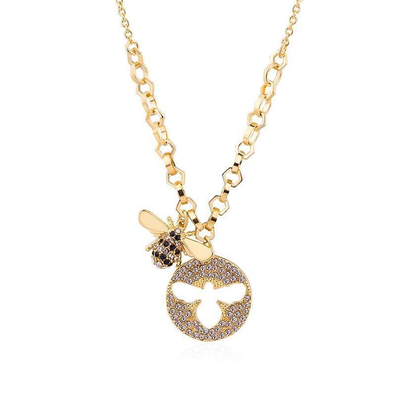Abeille Collier Or Couleur Bumble Bee Queen Bumblebee Charme Pendentif Collier Prong Réglage Claire Cristal Autrichien De Luxe Fine Jewelry