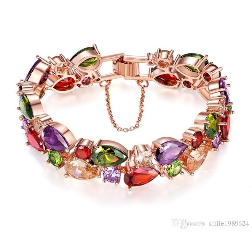 e8034b8e9b271 Fashion Swarovski Elements Crystal Rose Gold Plated Multicolor Flower Cubic  Zirconia Jewelry Wedding Party Evening Jewelry Bracelet