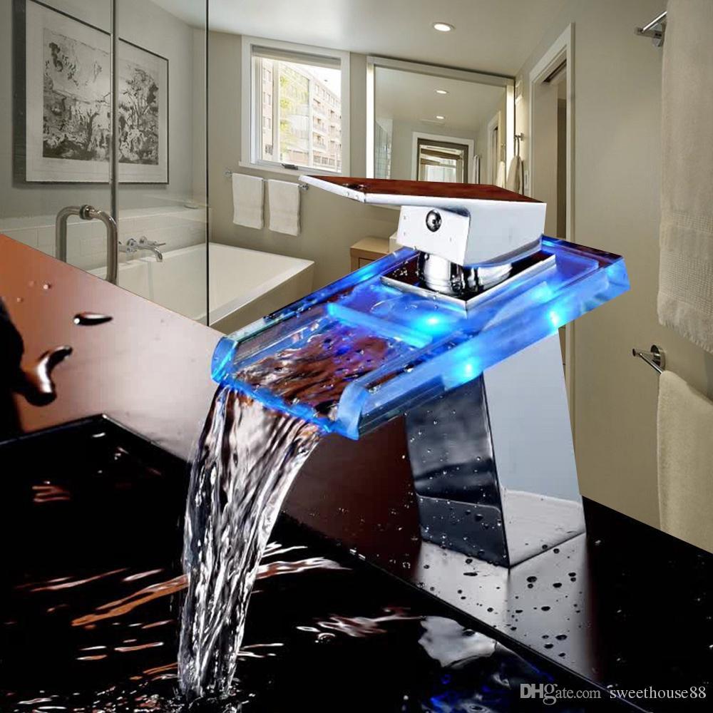 Großhandel LED Badezimmer Wasserfall Wasserhahn Glas Auslauf ...