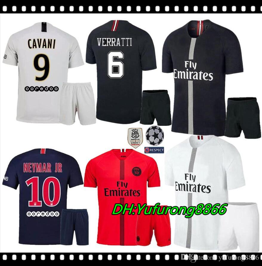 4f9245b89a7 2019 Adult Kit MBAPPE Champion League PSG Soccer Jersey 2018 19 Paris  VERRATTI DI MARIA CAVANI MEN Football Kit KIMPEMBE Maillot De Foot Shirt  From ...
