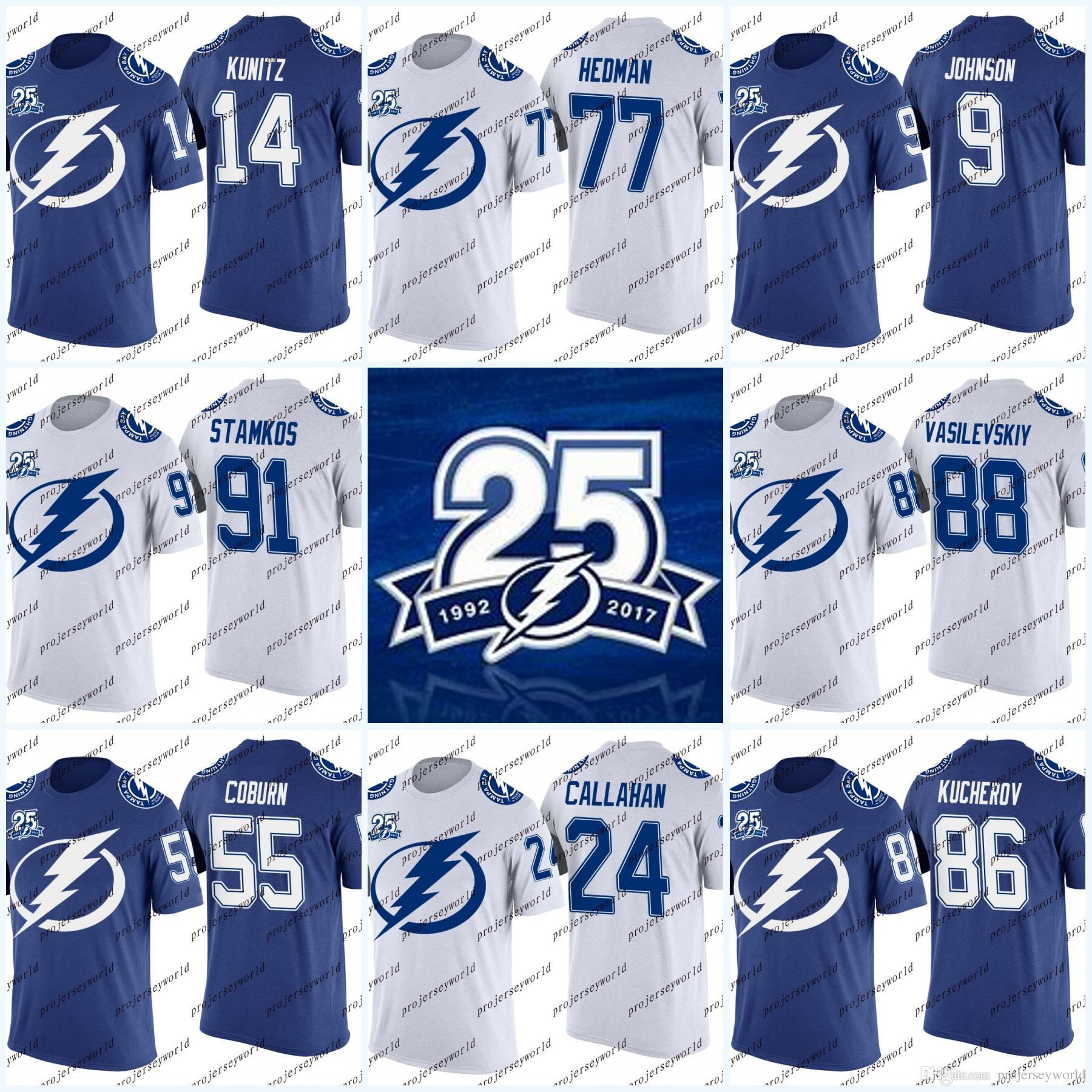 promo code 38059 c90cc 86 Nikita Kucherov Tampa Bay Lightning 25th T-shirt 91 Steven Stamkos 77  Victor Hedman 9 Tyler Johnson 14 Chris Kunitz Hockey Jerseys