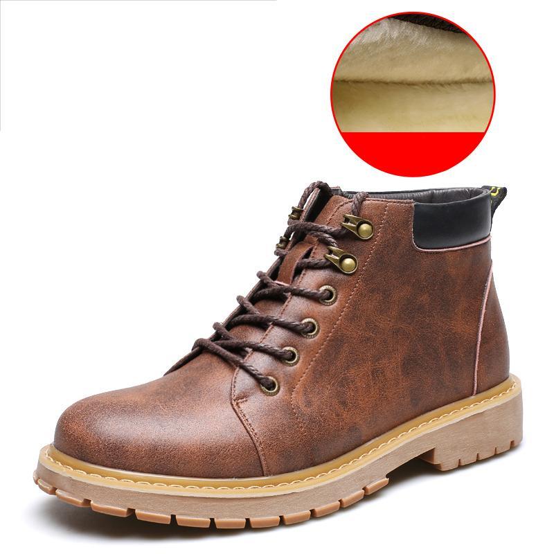 Británico Retro Martin Botas Hombres Tendencia de Invierno Felpa Moda Cálido Botines de Cuero Genuino High Top Shoes Hombres Desierto