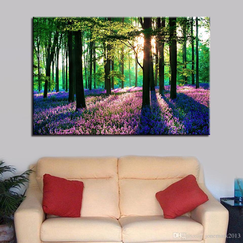 Großhandel Leinwandbilder Wohnzimmer Wandkunst HD Drucke 1 Stück / Stücke  Lavendel Sonne Wald Malerei Wohnkultur Baum Landschaft Poster Rahmen Von ...