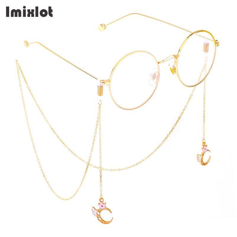 9f9c452e1fff Color dorado Corona Luna Cadena de gafas Gafas de sol Gafas de lectura  Cadena de gafas Sujetador de cable Cuerda de correa de cuello