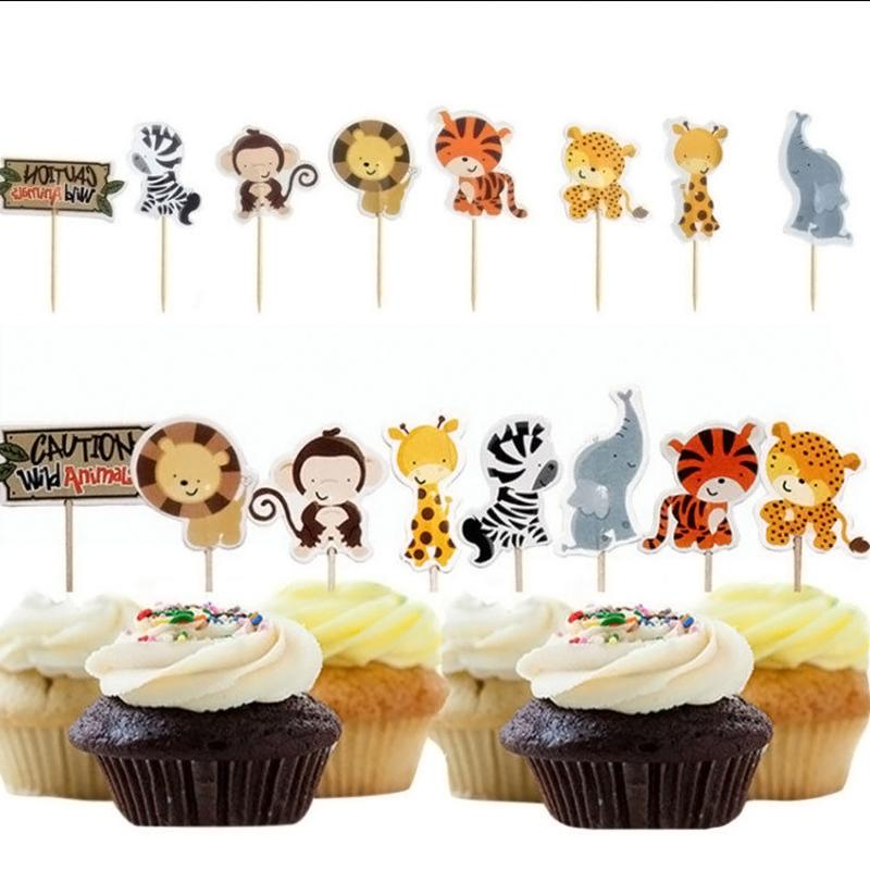2019 Safari Jungle Animal Cupcake Toppers Picks Birthday Party Decoration Kids Baby Shower Boy Favors GF504 From Cosmose 2295