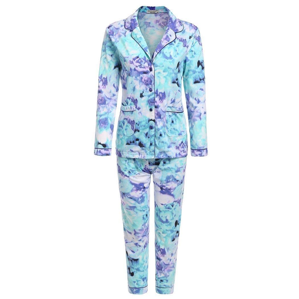 21b1e221d9 Ekouaer Long Pajamas Set Women Sleeve Button-Down Shirt Top And ...