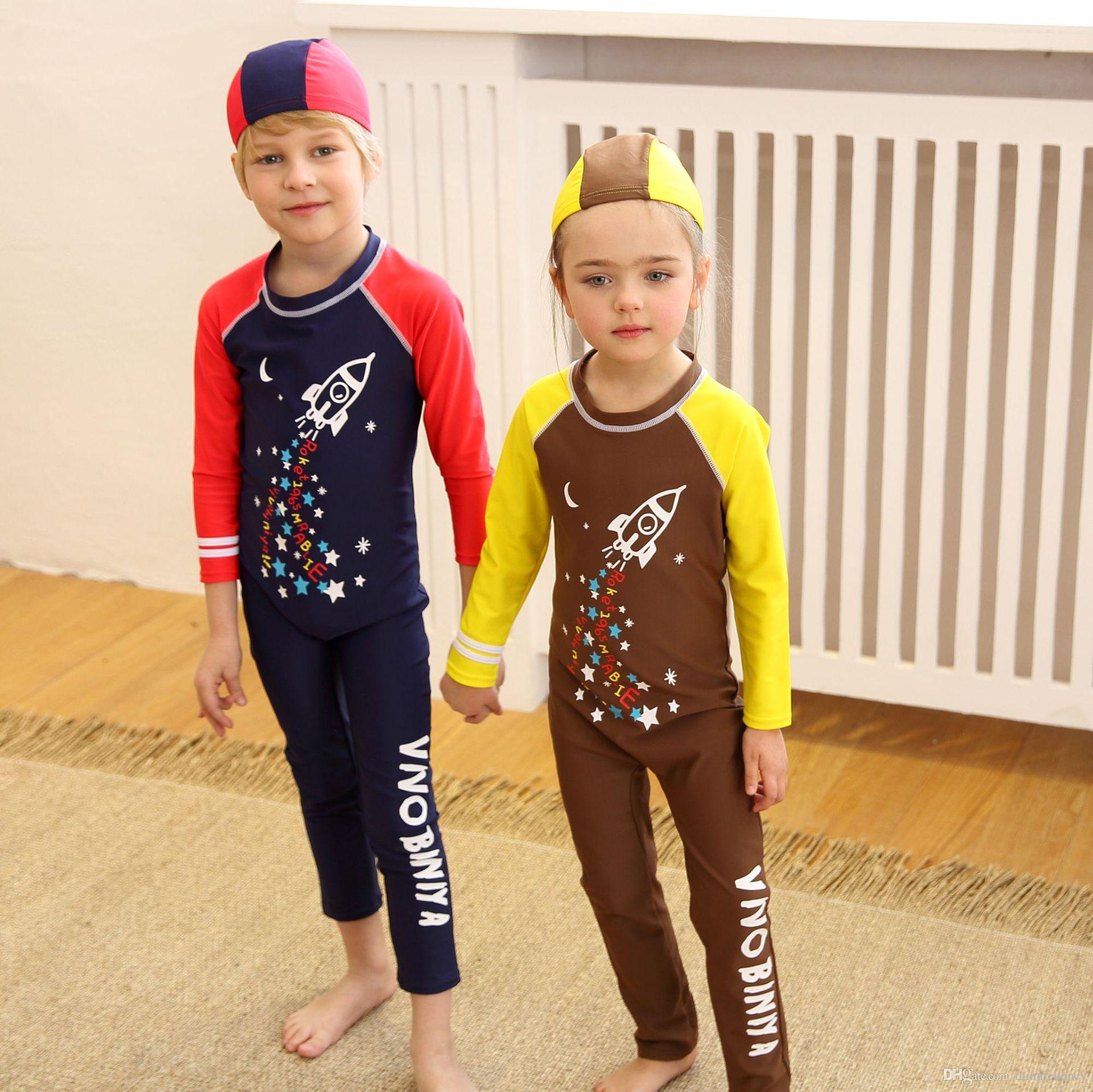 0f7421d0b02e8 2019 2 8 Years Children Boys Girls Swimsuit One Piece Long Sleeve Swimwear  UV Proof Quick Dryin Swimwear Bathing Suit From Minniehoney, $29.59 |  DHgate.Com