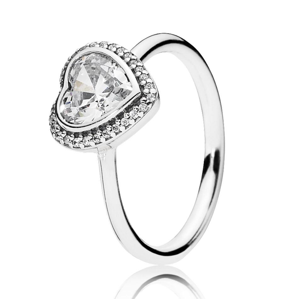 Wedding Ring On Sale.On Sale 30 Sier Ring For Women Sparkling Love Heart Ring Clear Cz Wedding Gift Finger Anel Fit Lady Fine Jewelry