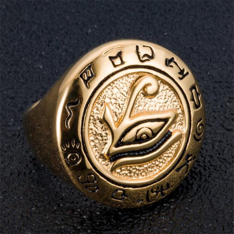 Auge des Horus-Ring, drittes Auge Ring, ägyptischer Schmuck für ihn, Geschenk, Edelstahlring, Gold Mens Ring antike Aussage Schmuck