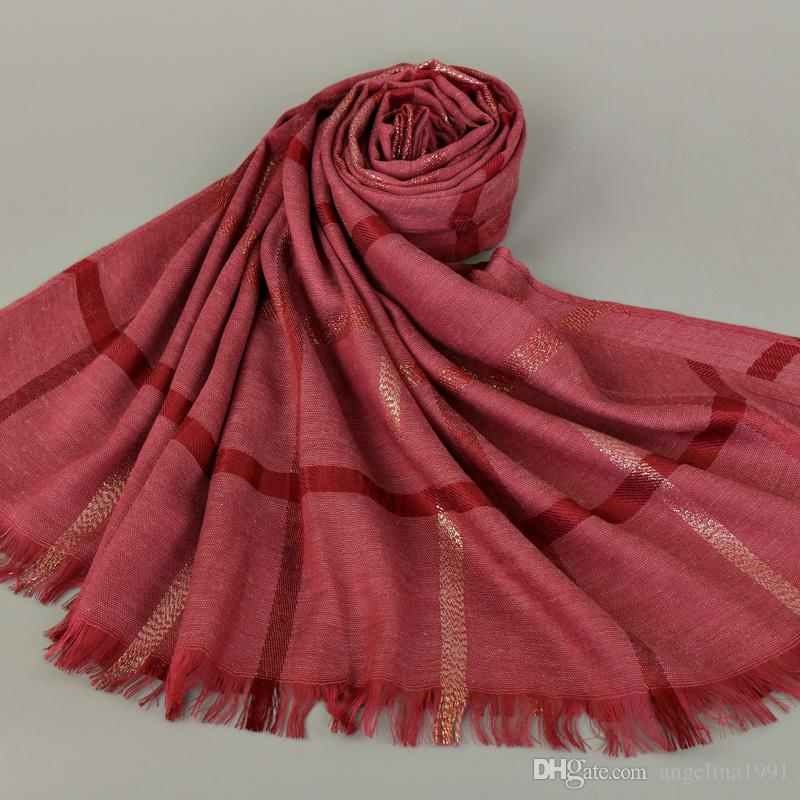 Women's fashion plaid stripe shimmer cotton lurex shawls hijab wrap muslim Muffler scarves/scarf 180*80cm