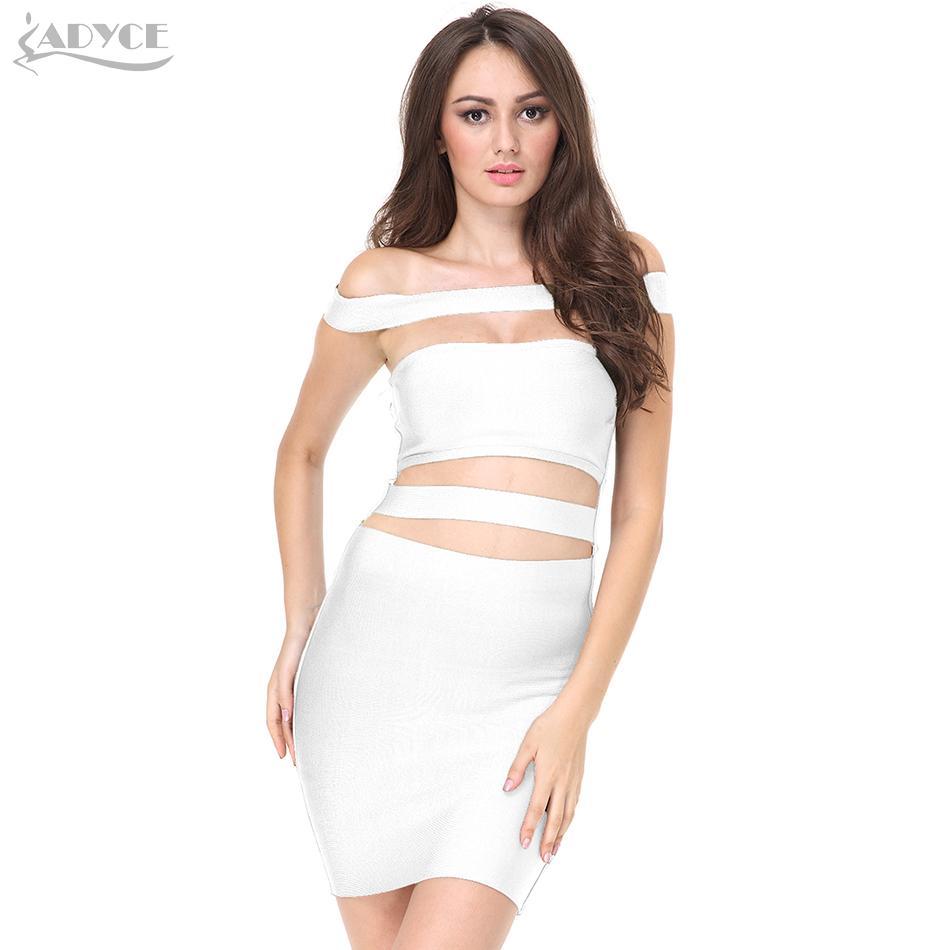 Großhandel 20187 ADYCE 2018 Frauen Sommer Party Bandage Kleider  Schulterfrei Ausgeschnitten Kleid Weiß Schwarz Elegant Celebrity Cocktail  Bodycon Kleid Von ... f1ccef861e