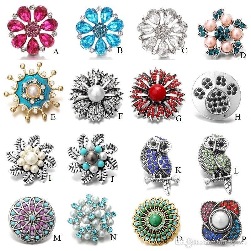 Noosa 18mm Druckknöpfe Schmuck Große Blume Charms Kristall Stücke Tasten passen DIY Ingwer Snap Armband für Frauen Männer Gemischte Stile