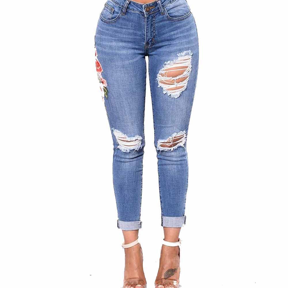 1832279e5bbf Pantalones vaqueros para mujer Pantalones pitillo delgados Pantalón bordado  pies pequeños Elásticos jeans-mujer