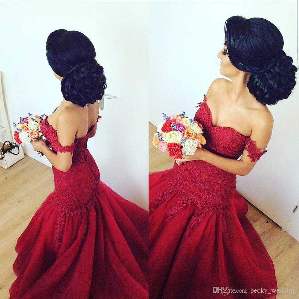 Burgundy Off Shoulder Mermaid Prom Dresses Long 2018 Vestidos Beaded Lace Top Backless Trumpet Style Layered Tulle Evening Formal Gowns