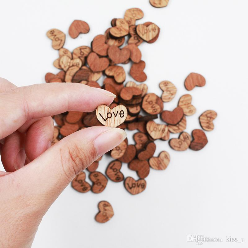 500Pcs Wedding Decoration Wooden Love Heart Shape for Weddings Plaques Art Craft Embellishment Sewing Decoration Buttons