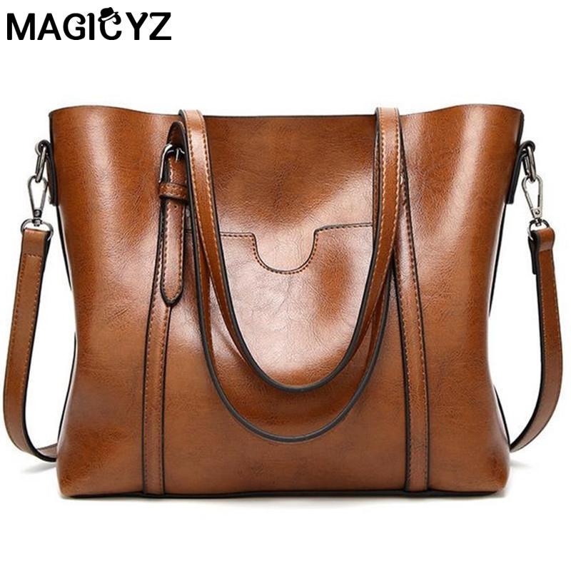 85f6b09f7b7c Women Bag Oil Wax Women S Leather Handbags Luxury Lady Hand Bags With Purse  Pocket Women Messenger Bag Big Tote Sac Bolsos Mujer Cheap Bags Cheap  Designer ...