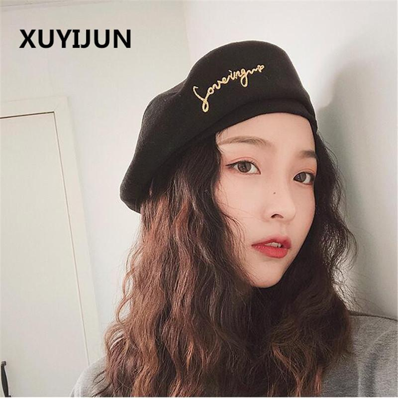 d37584d9f97de 2019 Xuyijun Autumn Winter Vintage Black Cute Letter Embroidery Beret Women  Artist Cap Ladies Wool Hat Headwear Berets From Baozii