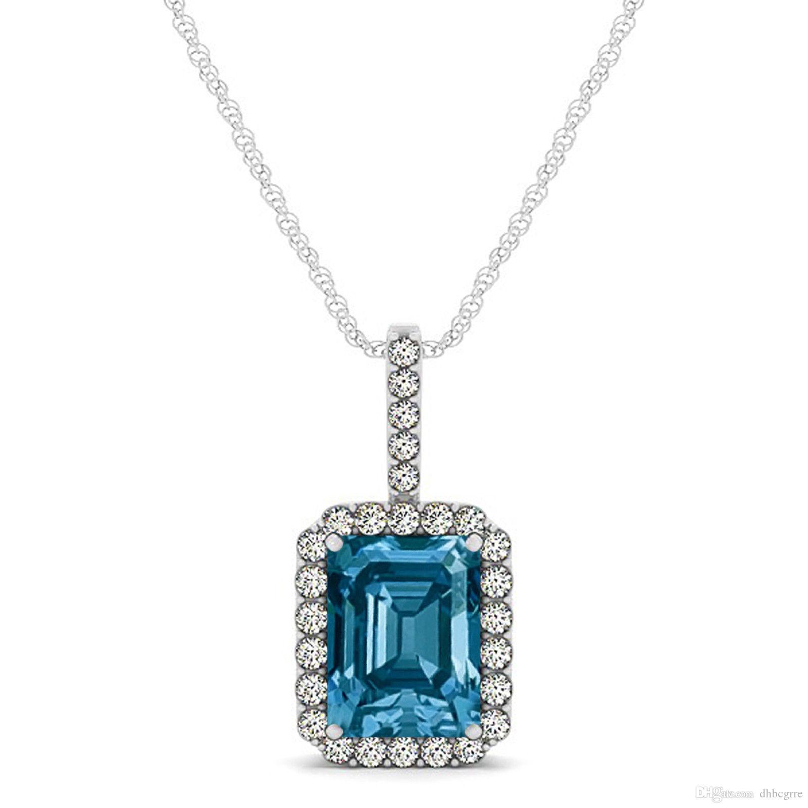 d32f7c061498 Compre 1.50 Ct Azul Esmeralda Corte Diamante Halo Solitario Colgante 18  Cadena 14k Wg A  66.33 Del Dhbcgrre