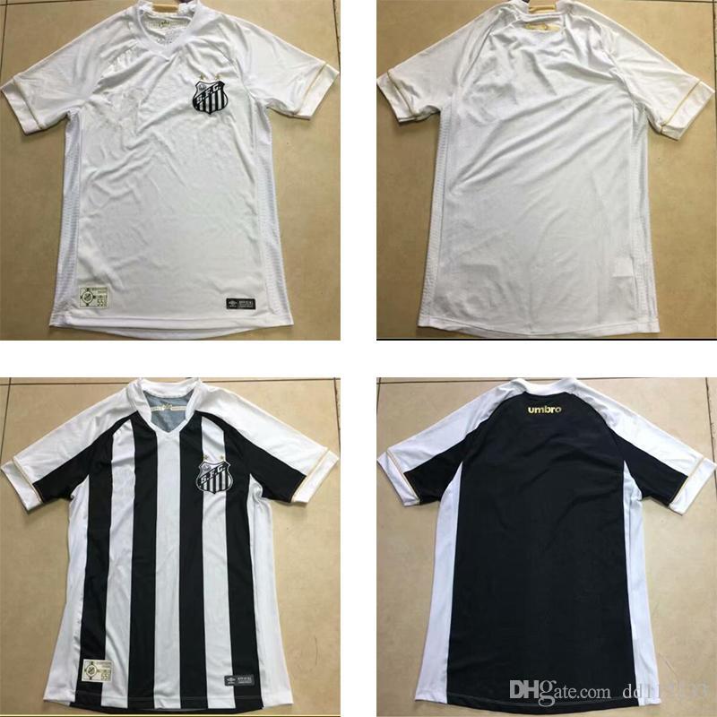 Envío Gratis Top Calidad Tailandesa 2018 2019 Nuevo Santos Camiseta De Fútbol  Casa Blanco Lejos Blanco Y Negro Camiseta De Adulto 18 19 Santos Camiseta  De ... 597ea8d00e8f2