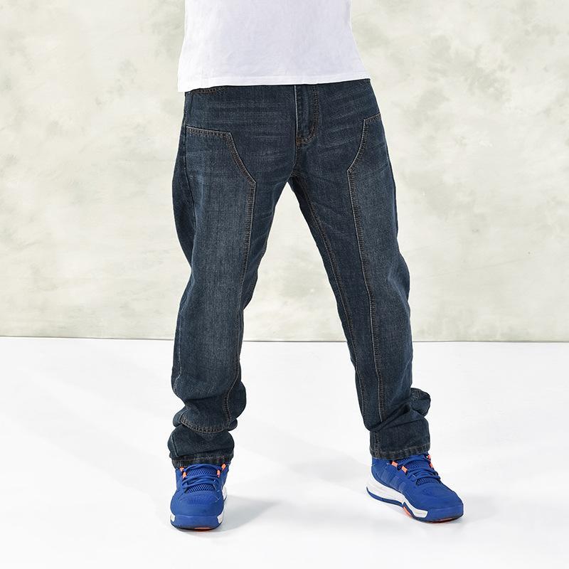 5ad9f0db93 Compre Pantalones Vaqueros Flojos Azules De Los Hombres 2018 Pantalones Del  Dril De Algodón Del Cargo Workwear Marca De Fábrica Clásica De Los Pantalones  De ...