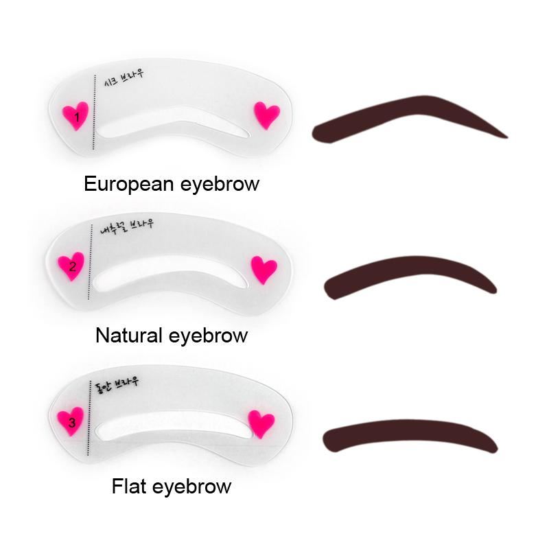 3types Reusable Eyebrow Stencils Eye Brow Diy Drawing Guide Styling