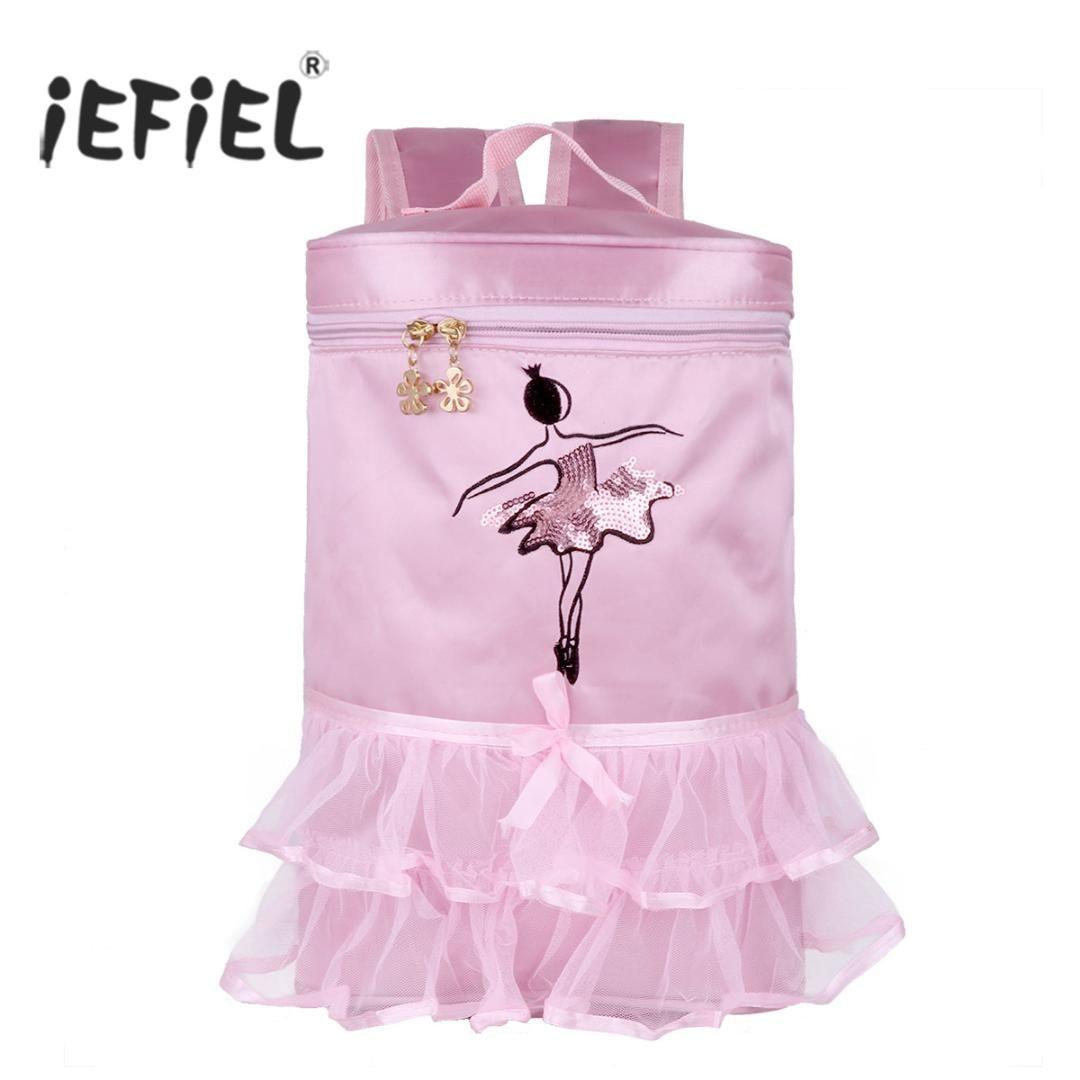 d2a2c2af9 IEFiEL Hot Kids Girls Adorable Ballet Dance Bag Embroidered Princess ...