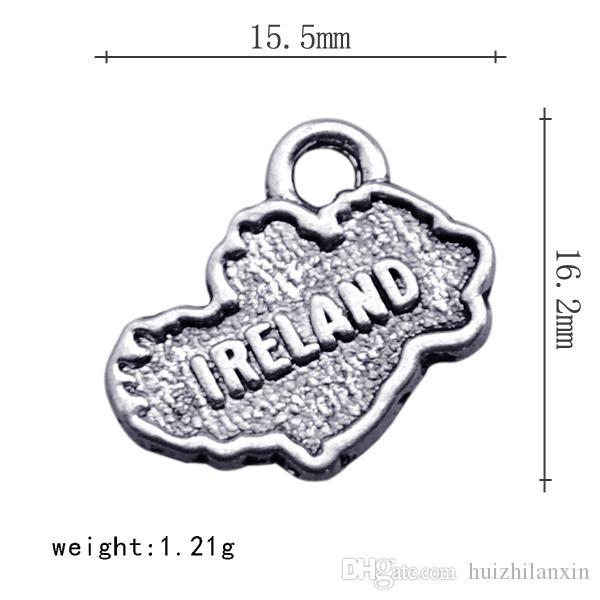 Handmade Liga IRLANDA Dupla Face IRLANDA Dangle Charme Jóias Para DIY Antigo Acessórios de Jóias de Prata