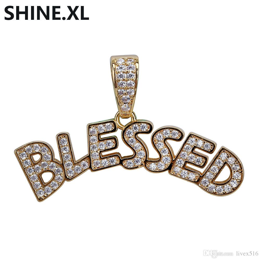 Custom Letter BLESSED Pendant Necklace Gold Silver Iced Out Full Lab  Diamond Hip Hop Jewelry for Men Women