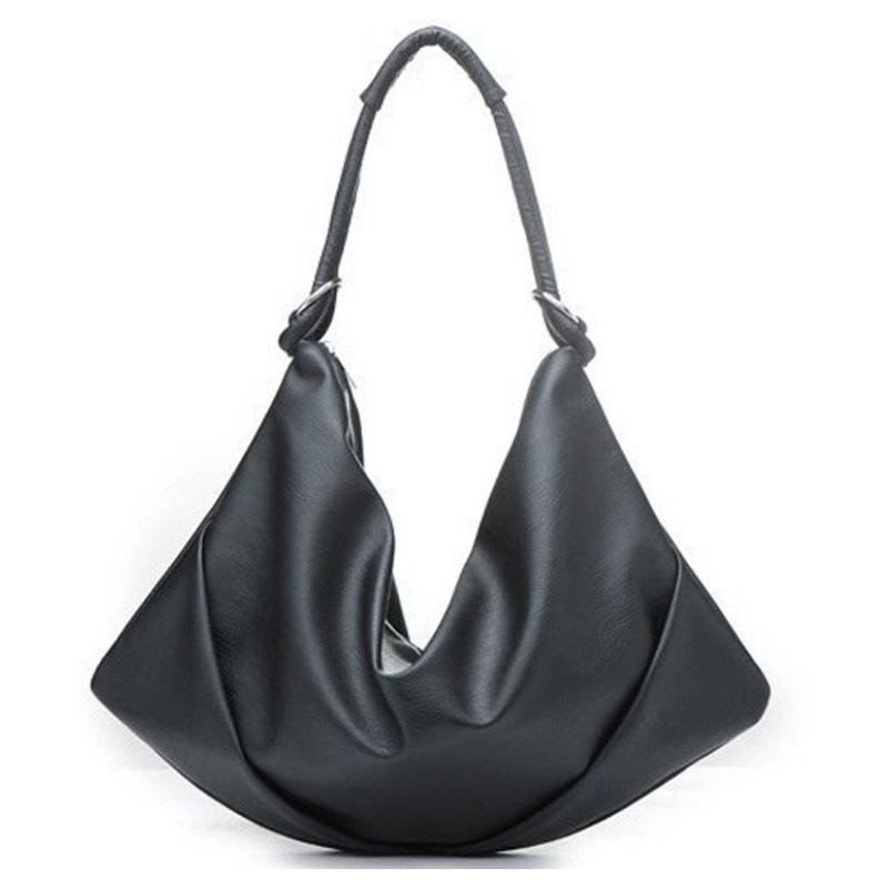 Soft PU Leather Fashion Hobo Bag Ladies Simple Pleated Black Bag Trendy  Handbag Designer Classy Women Cheap Shoulder Black Handbag Designer Handbags  On Sale ... 58c43d9f1de5