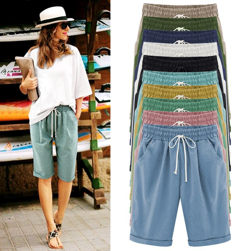 5f4bf977 2019 Summer Women Shorts Loose Straight Knee Length Shorts Comfortable  Casual Shorts Pocket Plus Size 6XL Female Trouses
