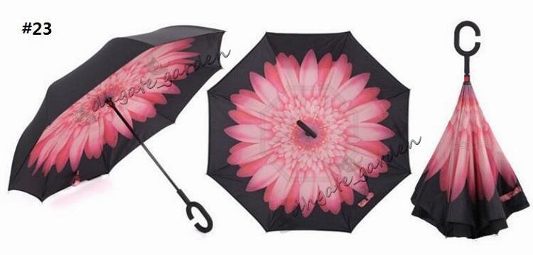 58 Renkler Yaratıcı ters şemsiye çift katmanlı C kolu veya J ters ters rüzgar geçirmez şemsiye ters çevirin Birçok renk mevcuttur