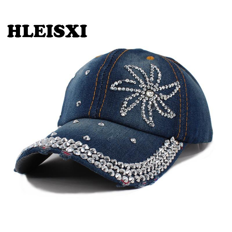 8da3d494174 HLEISXI Brand Adult Women Fashion Baseball Caps For Women s Denim Casual Cap  Lady Adjustable Hip Hop Hat Floral Snapback Sale Trucker Caps Flat Bill Hats  ...
