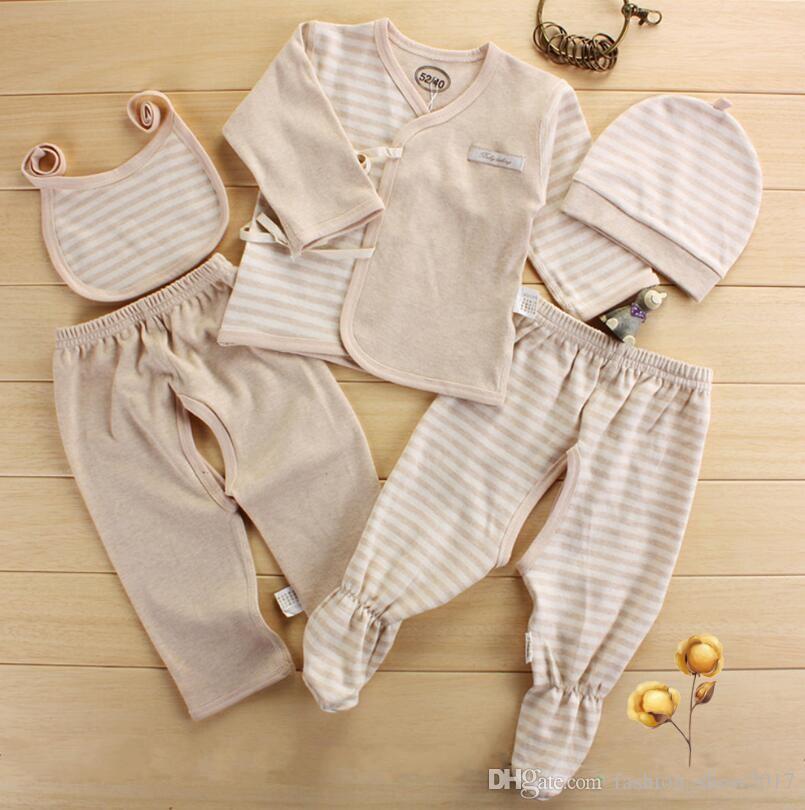Новорожденных Детская одежда набор органический хлопок детские 5 шт. наборы младенцев одежда подарочная коробка новорожденных Детская одежда наборы