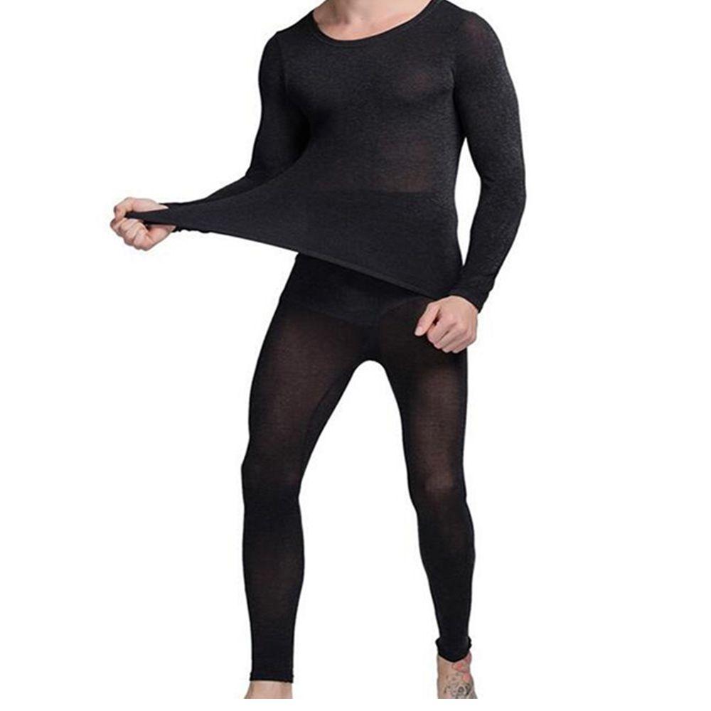 vêtements d'hiver chauds hommes chauds élastiques minceur sous-vêtements thermiques noir ultra-léger lumière long Johns