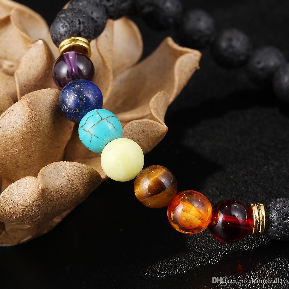 1 lote 10 unids Pulseras de Piedra de Lava Natural Negro 8mm Pulsera de Cuentas de Colores de Buda perla energía Pulseras Brazaletes Para Hombres Mujeres Regalos de La Joyería