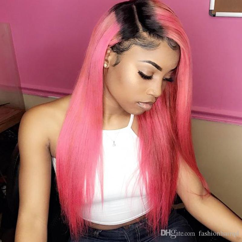 1b Pink Red Ombre Full Lace Human Hair Wigs For Black Women Cheap 8A Two Tone Straight Indian Virgin Hair Lace Front Wigs
