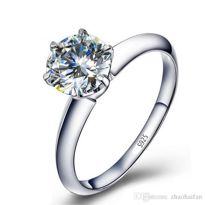 ddada32c550967 2019 ZHF Jewelry Wedding Band Women Solitaire Ring Solid 925 Sterling  Silver Ring 2ct SONA CZ Cubic Zirconia Engagement Ring From Zhaohaifan, ...