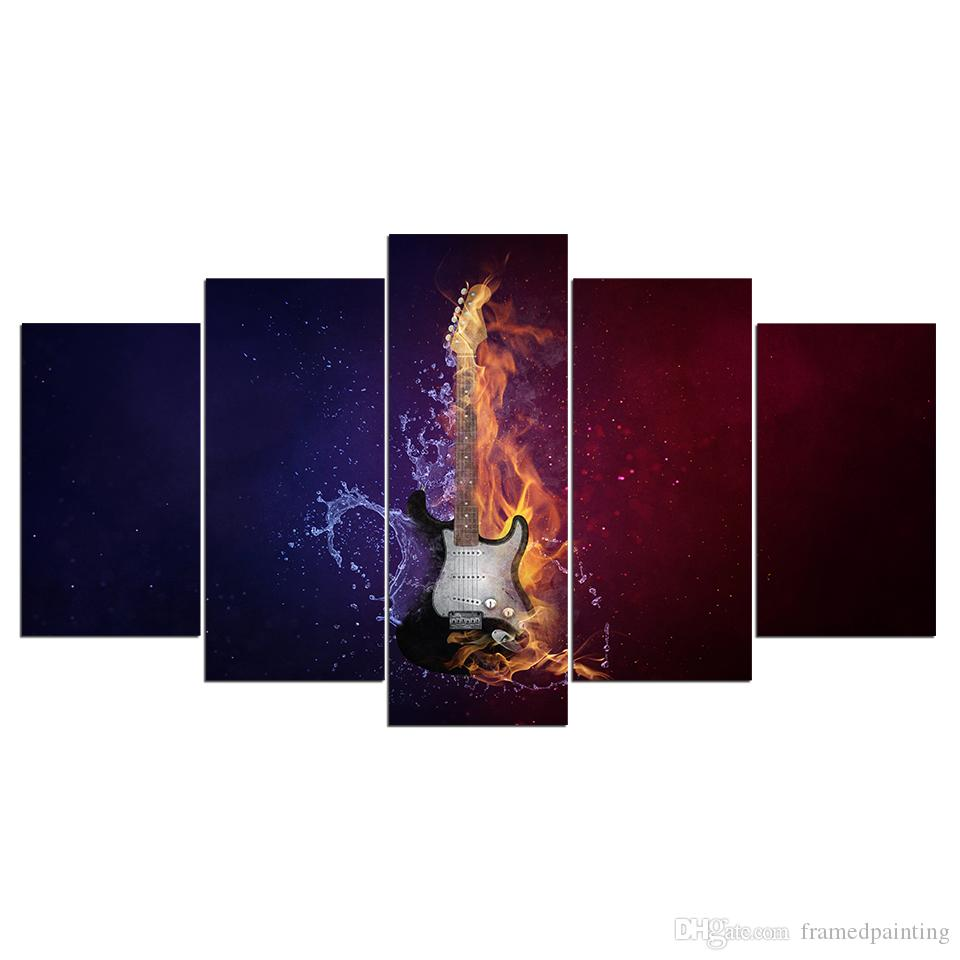 HD Printed Canvas Art Guitar In Fire Large Canvas Wall Art Wall Pictures for Living Room