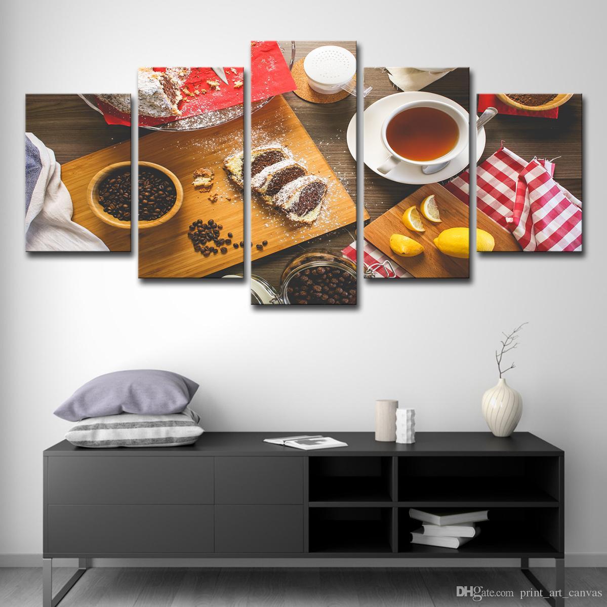 Leinwand Bilder Küche Wand Kunst Wohnkultur Restaurant 5 Stücke Obst  Lebensmittel Kaffee Kuchen Malerei Moderne HD Gedruckt Poster