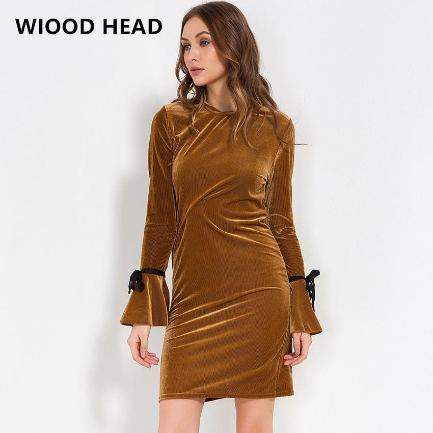 0bd0b6049f4c6 WIOOD HEAD 2018 Spring Dress Sexy Bodycon Flare Sleeve Velvet Party Dresses  Women O-neck Midi Club Dress Sexy Sheath