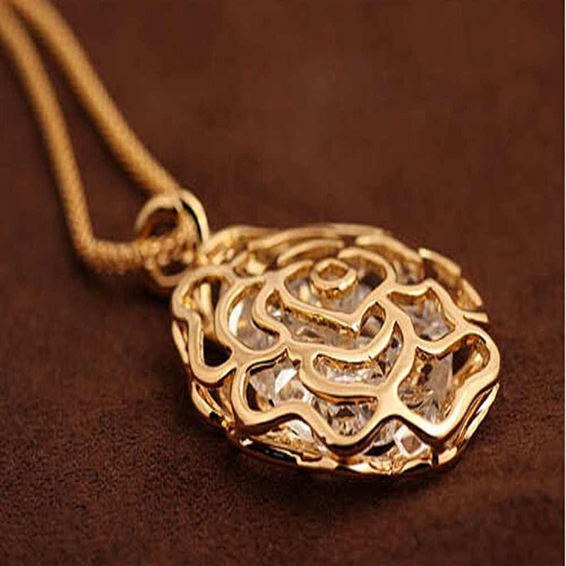 Длинная цепь Леди ювелирные изделия подвески для женщин полые цветок розы горный хрусталь ожерелье KUNIU