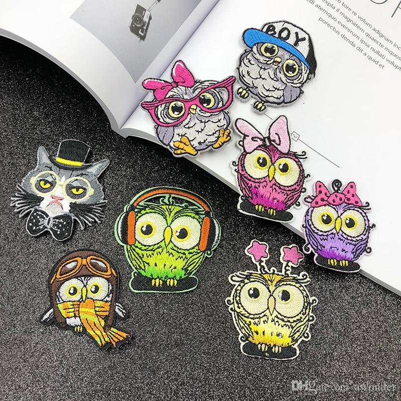 Cartoon Bird Mend Embroidery Patches Lovely Owl Iron On Sewing Applique Badge Clothes Patch Stickers For Baby Kids Jackets Jeans Garment Hat
