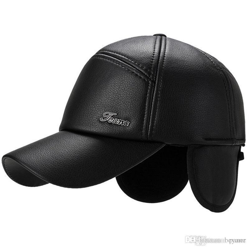 ed75eb24096 2018 New Men s Winter Baseball Cap Wool Fur Hat Earmuffs Protecting ...
