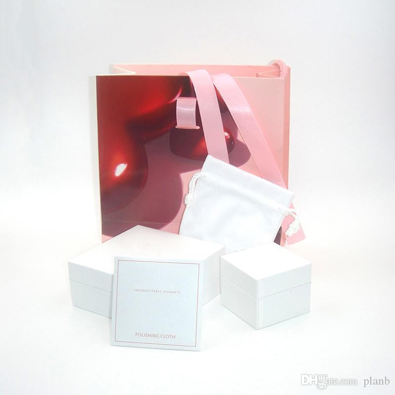 슈퍼 품질 연인 하트 패션 보석 상자는 판도라의 매력 팔찌 실버 반지 원래 상자 여자 선물 가방 세트 포장 된
