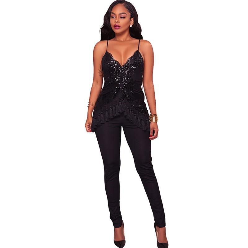 0505dcc742f 2019 Sexy Sequin Jumpsuit And Rompers Women V Neck Skinny Tassel Backless  Ladies Strap Sparkly Evening Party Overalls Female Leotard From Honey111