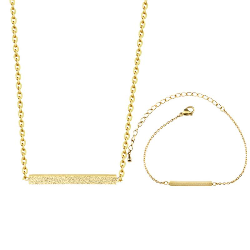2019 Simple Gold Color Long Bar Necklace Pendant Stainless Steel
